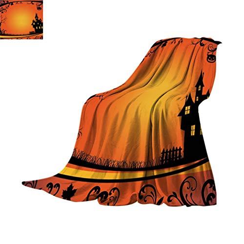 Manta de viaje de Halloween, marco con ramas de árbol curvas, remolinos, hojas góticas, castillo, festival, manta de franela difusa para sofá de cama, 152 x 127 cm, naranja, amarillo, negro