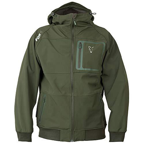 Fox Collection Greensilver Shell Hoodie - Softshell Pullover für Angler, Kapuzenpullover, Kapuzenpulli, Hoody, Angelpullover, Größe:M