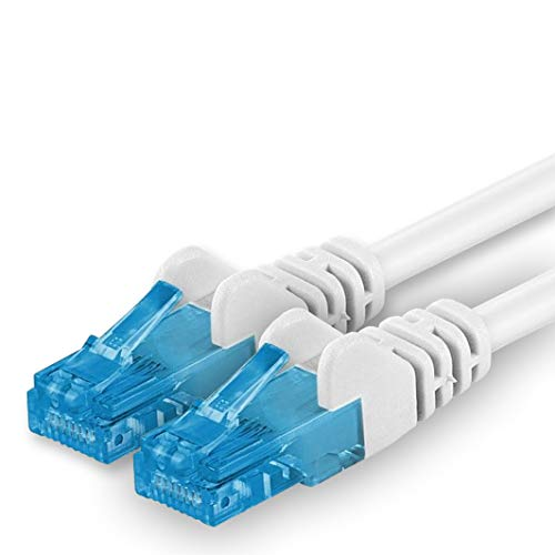 1aTTack.de Cable de Red Patch Cable Cat 6A Cat 6A (500MHz 10GB/s) LSZH Compatible con Cat5E Cat5Cat6 Cat8Cat.7Switch Router módem Patch Panel 1 Pieza Blanco 5m