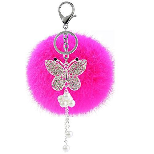 Strass bommel Keychain mit Glitzer Schmetterling Perle Anhänger Schlüsselanhänger plüsch Ball Taschenanhänger Elegant Plüsch-Kugel Auto-Anhänger Pompom Schlüsselring Handtasche Dekor (Rosa)