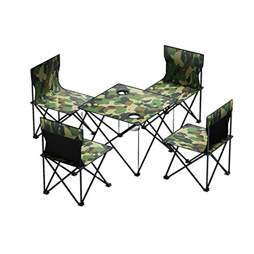 MODEO Portable Foldable Camping Table Chair Set, Lightweight Compact Folding Side Table with 4 Chairs Camp Folding Side Table for Outdoor Cooking Travel