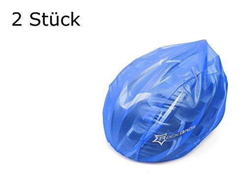 2 Stück Helmüberzug in BLAU für Fahrradhelm - Schutz vor Regen, Wind, Sonne | reflektierendes Logo für Sicherheit | wasserdichter Regenüberzug | Helmschutz Kordelzug größenverstellbar (2 Stück blau)