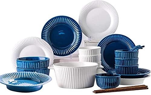 Juego de platos, Conjuntos de vajilla de 26 piezas para 5, conjunto de cena de cerámica, vajilla establecida en estilo francés, placas de rayas blancas azules y cuencos, completar combi-porcelana, mic