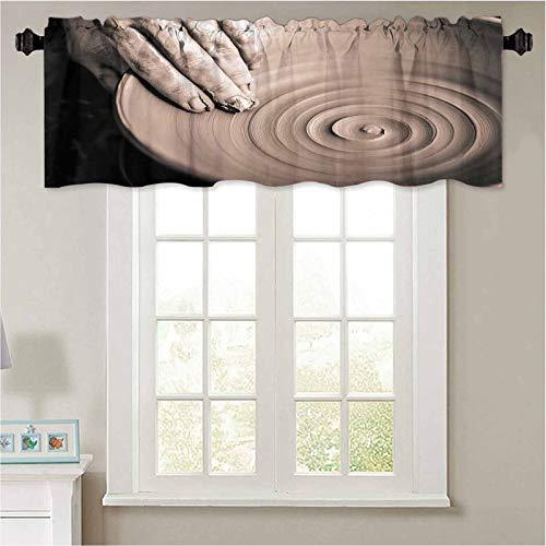 YUAZHOQI Cortina de cocina con cenefa de cerámica escultor Potter con aislamiento térmico, cortina oscurecedora de 106,7 cm de ancho x 45,7 cm de largo
