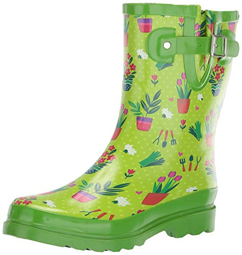Western Chief Women's Waterproof Printed Mid Height Rain Boot, Green, 8