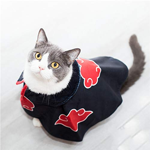 IUTOYYE Cat Cloak Costume Anime Halloween Pet Clothes Puppy Cosplay Plush Cloak Christmas Cute Party Dog Cape Dressing Up (Black)
