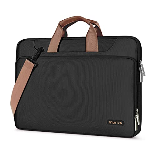 MOSISO 360 Protective Laptop Shoulder Bag Compatible with MacBook Pro/Air 13 inch, 13-13.3 inch Notebook Computer, Briefcase Sleeve with Back Trolley Belt, Black