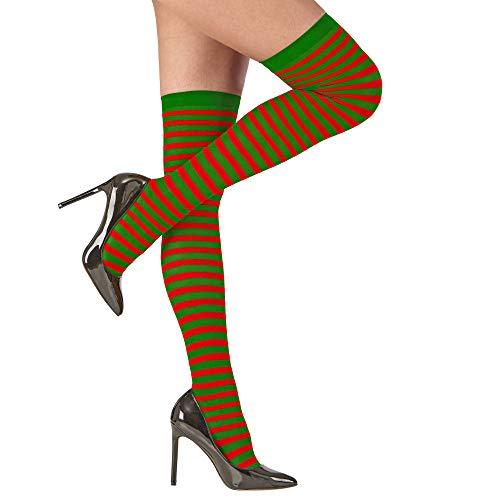 Widmann 04636 Ein Paar Rot/Grün gestreifte Overknee-Strümpfe, für Weihnachten, Mottoparty 04636-Overknee, 70 DEN, Kniestrümpfe, Wichtel, Elf, Karneval, Mehrfarbig, XL