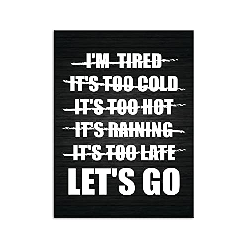 PENGDA Motivational Canvas Wall Art Lets Go No Excuses Gym Posters Positive Print on Canvas for Home Living Room Bedroom Unframed 24x32inches
