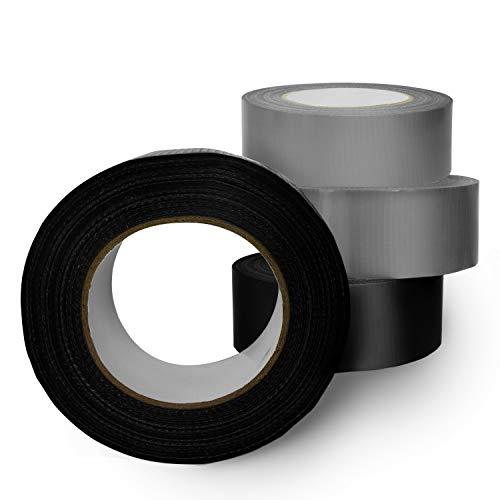 VINDOR Gewebeklebeband – universal Profitape Duct Tape handreißbar, stark klebend – 2 x silber 2x schwarz, je 50 Meter