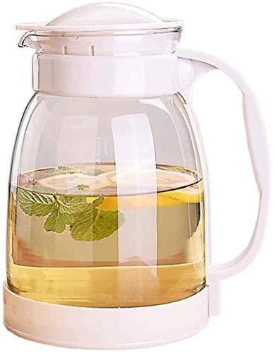 Jarra de vidrio para té de verano, con tapa de acero inoxidable para zumos calientes/fríos, leche y café, jarra de agua, color negro/blanco/verde, 2000 ml, resistente al calor (color: negro)