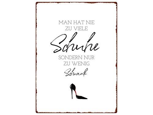 Interluxe WANDSCHILD metalen bord Man HAT NIE TE VEEL schoenen schoenenkast vrouw spreuk
