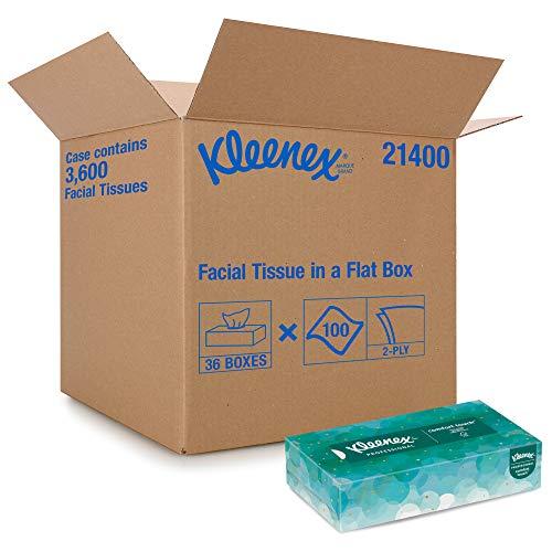 Kleenex Professional Facial Tissue for Business (21400), Flat Tissue Boxes, 36 Boxes / Case, 100 Tissues / Box, 3,600 Tissues / Case