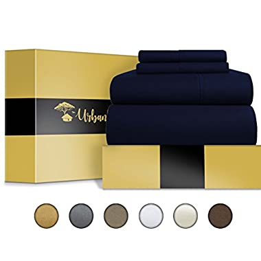 Egyptian Cotton Sheets Set (4 Piece) 1000 Thread Count - Bedspread Deep Pocket Premium Quality Bedding Set, Luxury Bed Sheets for Hotel and Home Collection Soft Sateen Weave Gift (Queen, Navy Blue)