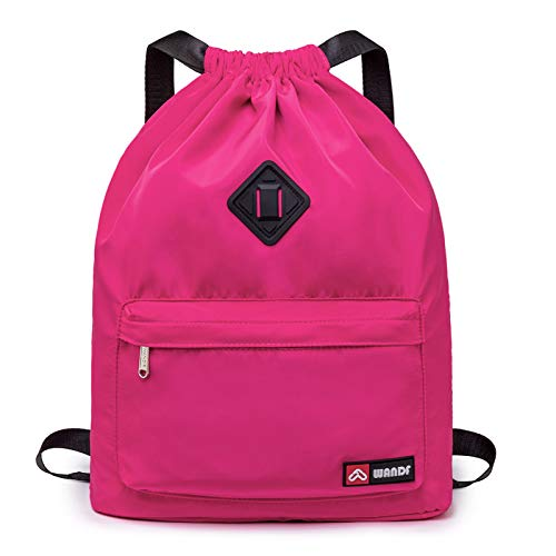 Drawstring Backpack String Bag Sackpack Cinch Water Resistant Nylon for Gym Shopping Sport Yoga by WANDF (Pink 6030 with shoe pocket)