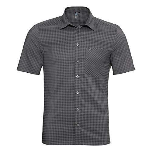 Odlo Herren Nikko Kurzarm-Hemd, Graphite Grey Concrete Grey-Check, XXL