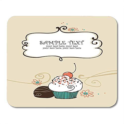 Mauspad Hochzeitsrezept Mit Cupcake-Kuchen Vintage Sweet Bake Geburtstag Candy Mousepad Mousepad 25 X 30Cm Maus Matte Arbeit Bunt Spiel Sonderschule Büro Gedruckt Rutschfest