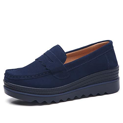 Z.SUO Mujer Mocasines de Cuero Gamuza Moda Loafers Casual Zapatos(40 EU,Azul Oscuro.4)