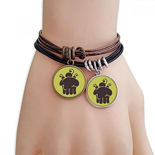 DIYthinker Damen Kirsch-EIS Schmelzen Silhouette Armband Doppel-Leder-Seil-Armband Paar Sets