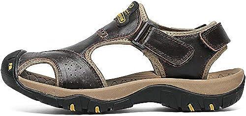TXHLKD Hommes Sandales Marque D'été Véritable Véritable en Cuir Sandales Hommes en Plein Air Plage Pantoufles Marcher Sport Male Semelle en Caoutchouc Décontracté Chaussures Grande Taille  vente de sortie