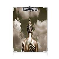 クリップボード モノクロームアート プレゼントA4 バインダー バンコクの曇り空の下で祈るセピアトーン 用箋挟 クロス貼 A4 短辺とじ