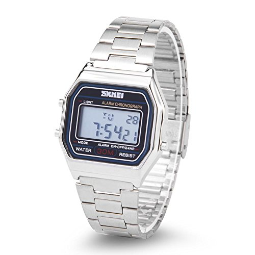 Armbanduhr Elektronische Uhr 3Colors Digital LED Rücklicht Elektronische Uhr-Rechteck mit Edelstahl Bügel(Silber)