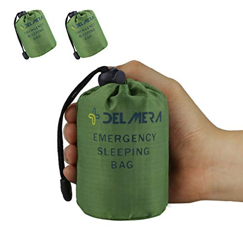 Delmera Emergency Survival Sleeping Bag, Lightweight Waterproof Thermal Emergency Blanket, Bivy Sack with Portable Drawstring Bag for Outdoor Adventure, Camping, Hiking, Orange (Green- 2 Packs)
