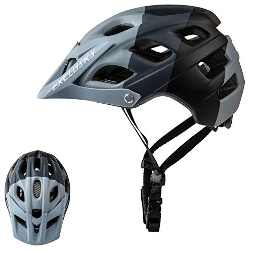Exclusky Mountain Bike Helmet, Easy Attached Visor Safety Protection Comfortable Lightweight Cycling Mountain & Road Bicycle Helmets for Adult Men Women (black+gray)