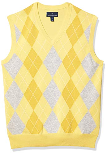 Amazon Brand - Buttoned Down Men's 100% Supima Cotton Sweater Vest, Light Yellow Argyle, Large