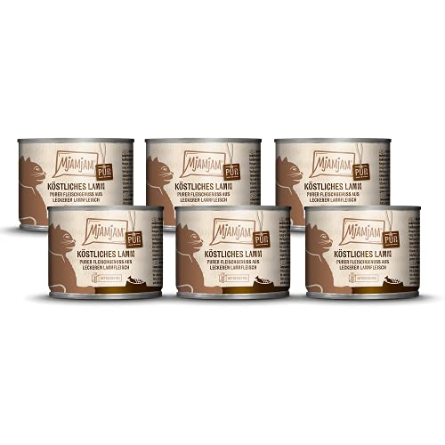 MjAMjAM - Premium Nassfutter für Katzen - purer Fleischgenuss - köstliches Lamm pur, 6er Pack (6 x 200 g), getreidefrei mit extra viel Fleisch