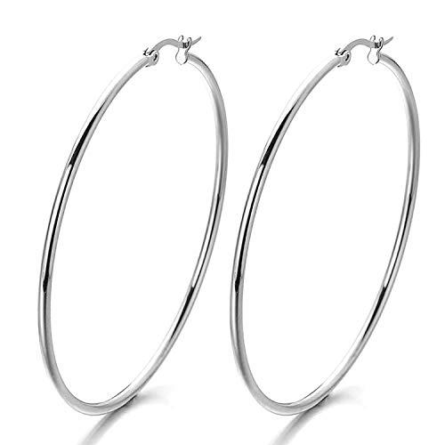 Aurstore - Orecchini a cerchio, da donna, in acciaio Inox, alla moda, ottima idea regalo per le donne e 70 mm, colore: argento, cod. grand cerceau