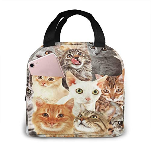Cute Kitty Cat Lunch Bag Insulated Lunch Box Waterproof Meal Prep Cooler Tote For Picnic Camping Work Travel