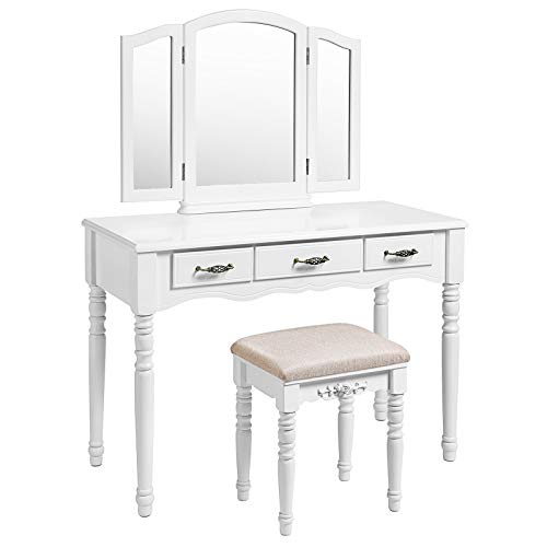 SONGMICS Vanity Set, 3 Large Drawers, Tri Folding Mirror, Make-up Dressing Table with Cushioned Stool, Easy Assembly, Gift for Mom White