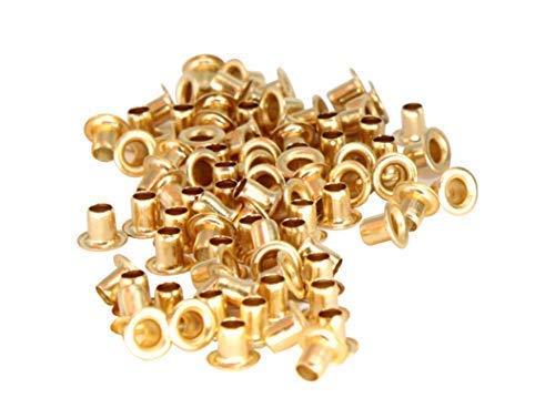 Set 3 die Set Hohl Lochstanze und 100 Stück von 3mm Ösen Öse Einstellwerkzeug Set für für Kleidung, Lederhandwerk und Scrapbooking - Unterlegscheiben Nicht Enthalten - Silbern