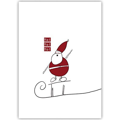 Grappige firma-kerstkaarten met vrolijke kerstman op slee, met hun tekst aan de binnenzijde laten drukken, in set van 4, 20 of 100 als kerstgroet/nieuwjaarskaart/firma-kerstkaart voor klanten, zakenpartners, medewerkers: Ho Ho Ho Ho 4 Weihnachtskarten Blanko Innen