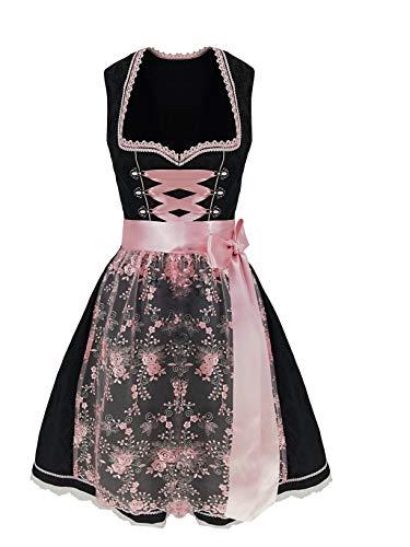 Lukas Dirndl Exklusives Designer Midi Damen Dirndl 2TLG. Kleid inkl.Spitzen Dirndlschürze - 18115 (48)