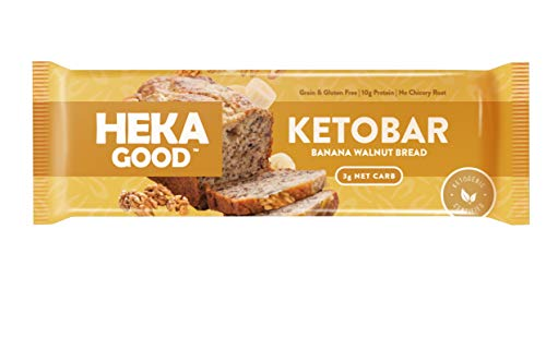 Heka Good Foods Low Carb Keto Bars, Banana Walnut Bread, 3g Net Carb, 10g Protein, No Sugar Added, Grain & Gluten Free, 12 Count