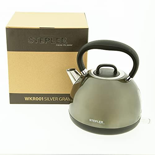 STEPLER Wasserkocher Retro-Design 1,7 Liter (WKR001)   Teekessel   Flötenkessel   Teekocher   Überhitzungsschutz   Automatische Abschaltung   360° drehbar   Rostfreier Edelstahl (SILVER GRAY)