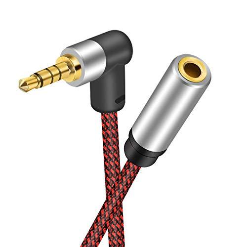 Audio Verlängerungskabel 6M, nufedcpo 3.5mm Right Angle Kopfhörer Klinke Verlängerung Kabel Aux Verlängerung Klinkenkabel Premium Nylon Ummantelung 24K Vergoldete Kontakte