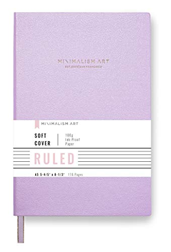 Minimalism Art, Premium Soft Cover Notebook Journal, Ruled Lined Page, 176 Pages, Premium Thick Paper 100gsm, Ribbon Bookmark, Fine PU Leather, A5 5.8' x 8.3' (Medium, Pink)