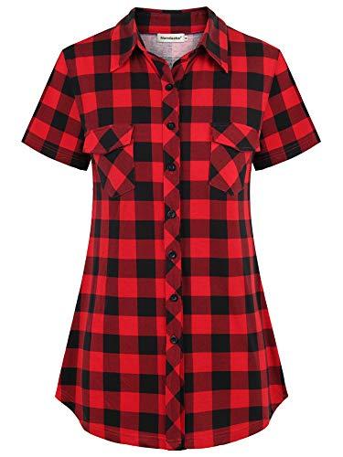 Nandashe Long Plaid Tunic Shirt for Women, 2019 Short-Sleeved V Neck Slimming Colorblock Jersey Hipster Back Pleat Feminine Linen Flare Flattering Button up Blouses Black&Red Extra Large
