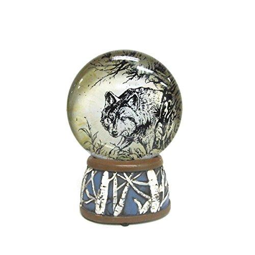 WonderMolly North American Wildlife Gray Wolf Light-Up Slim Snow Globe
