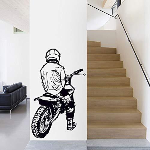 mlpnko Motocross Autocollant De Voiture Cross Country Applique Affiche Vinyle Sticker Moto Décoration Murale Moto 87x142 cm