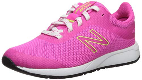 New Balance 455 V2 Lace-Up Running Shoe, Peony/Bleached Lime Glo, 13.5 Wide US Unisex Little_Kid