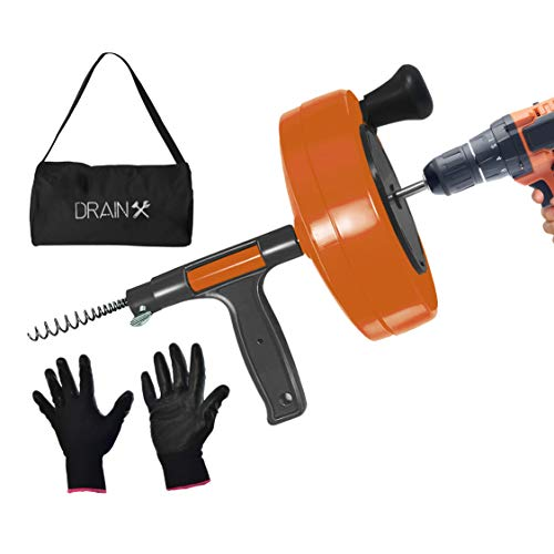 DrainX Power Pro 25-FT Steel Drum Auger Plumbing Snake with Drill Attachment | Use Manually or Powered | Heavy Duty Drain Cleaning Cable with Work Gloves and Storage Bag Included