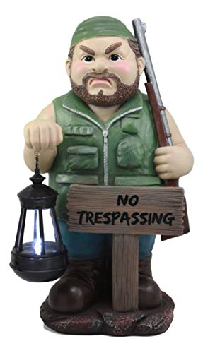 Ebros Large Grumpy Hunter with Shotgun and No Trespassing Sign Statue with Solar LED Lantern Light Guest Greeter Decor Figurine for Patio Poolside Garden Home