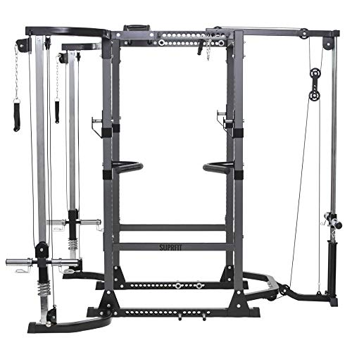 Suprfit Rango S Power Rack Set - multifunktionale Kraftstation, Dip Station, Multigrip Klimzugstange, Safety-Spotter & J-Cups, Latzug & Kabelzug für Gewichte mit 50 mm Lochdurchmesser, Farbe: Schwarz