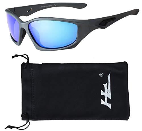 Hornz HZ Serie Pro - Premio Polarizzati Degli Occhiali da sole Opaca Gunmetal Grigio Telaio -Blu lente a specchio di ghiaccio