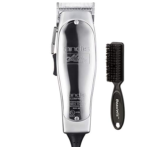 Andis Master Hair Adjustable Blade Clipper, Silver with a BeauWis Blade Brush