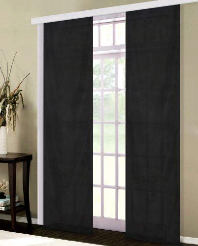 Gardinenbox Flächenvorhang, Schiebegardine Blickdicht matt, Schwarz, aus Micro Satin (Mikrofaser Gewebe), mit Paneelwagen und Beschwerungsstange -85600-, 85600